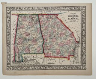 County Map of Georgia, and Alabama. ALABAMA - GEORGIA 1866