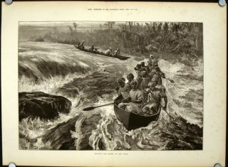 Shooting the Rapids on the Congo. CONGO - CANOEING