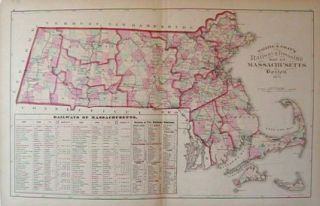 Walling & Gray's Railway & Township Map of Massachusetts. Boston 1871. MASSACHUSETTS / RAILWAYS