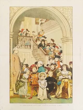 A Christmas Costume Party -- Supper Time. CHRISTMAS CHILDREN COLOR WOOD ENGRAVING