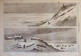 Scenes in Alaska--First View of the Yukon River./ Unalachleet: Indians Fishing through the Ice. ALASKA.