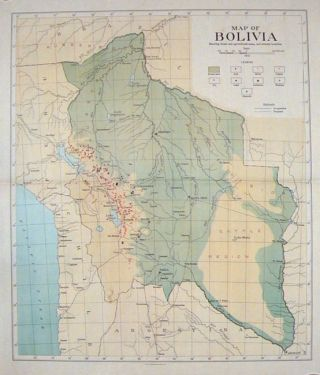 Map of Bolivia. Showing forest and agricultural areas, and mineral localities. BOLIVIA