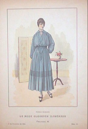 Hand color lithograph from La Moda Elegante Ilustrada. December 14, 1916. No. 46. 1910s FASHION