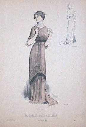 Hand color lithograph from La Moda Elegante Ilustrada. April 6, 1910. No. 13. 1910s FASHION.