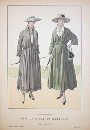 Hand color lithograph from La Moda Elegante Ilustrada. October 14, 1916. No. 38. 1910's FASHION.