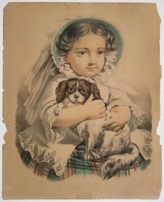 My Little Favorite. [LARGE CURRIER IVES LITHOGRAPH]. CURRIER, IVES - GIRL WITH DOG