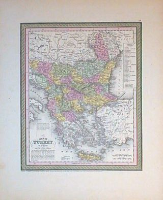 Map of Turkey in Europe. Together with the Ionian Islands. BALKANS