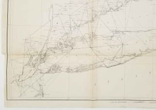 Sketch B. No. 2. Showing the Triangulation & Geographical Positions in Section No. II. From New York City to Point Judith.