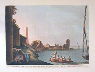 Exterior View of the Ancient Wall of Alexandria, with Cleopatra's Needle. EGYPT.