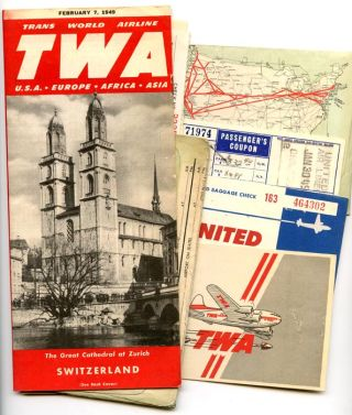 TWA time table domestic and international. With assorted ticket stubs, letter of complaint etc. TWA