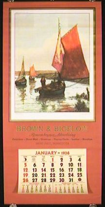 1936 Calendar. Brown & Bigelow Remembrance Advertising Calendar. BROWN, BIGELOW