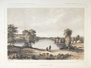 Lightning Lake.[Vintage Pacific Railroad Survey Lithograph]. MINNESOTA