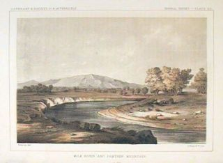 Milk River and Panther Mountain. [Vintage Pacific Railroad Survey Lithograph]. MONTANA
