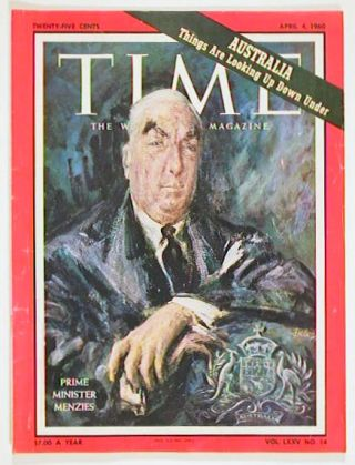 Time The Weekly Newsmagazine. 1960 - 04 -04. MENZIES - AUSTRALIAN PRIME MINISTER