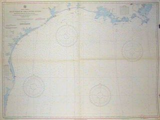 Lot of two coastal charts of the Gulf Coast of the United States . #1126 Mississippi River to the Rio Grande. # 1125 Key West to the Mississippi River. FLORIDA - KEY WEST.
