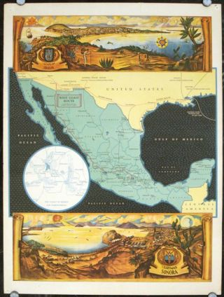 West Coast Route via Southern Pacific and National Railways of Mexico. (Pictorial Map of Mexico). MEXICO - SOUTHERN PACIFIC.
