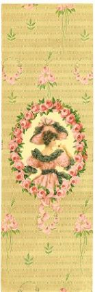 Chocolate Box label - Victorian lady holding billet doux. CHOCOLATE BOX LABEL