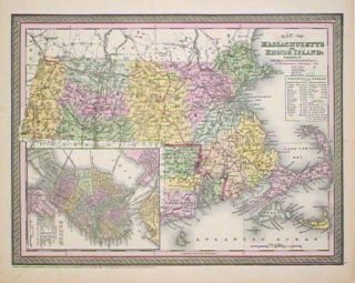 Map of Massachusetts and Rhode Island. [MAP]. MASSACHUSETTS / RHODE ISLAND