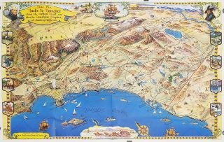 Southern California's Golden Coast and Sunshine Empire. (Map title: Ride the Roads to Romance...