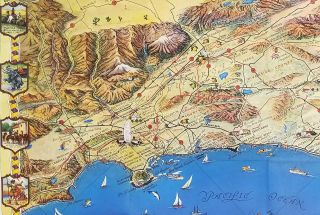 Southern California's Golden Coast and Sunshine Empire. (Map title: Ride the Roads to Romance along the Golden Coast and thru the Sunshine Empire of Southern California.)