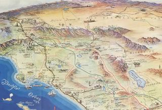 Roads to Romance. Historic Map Guide. California's Southern Empire. (Map title: Historic Roads to Romance California's Southern Empire Tourist Paradise.)