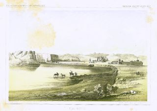 Fort Benton. [Vintage Pacific Railroad Survey Lithograph]. MONTANA - NATIVE AMERICAN INDIANS