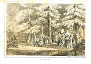 Nez Perces. [Vintage Pacific Railroad Survey Lithograph]. MONTANA - NATIVE AMERICAN INDIANS