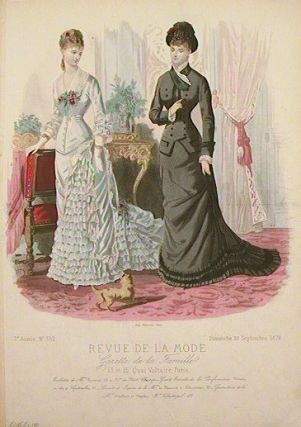 Hand colored fashion engraving from Revue de la Mode. Gazette de la Famille. September 29,...