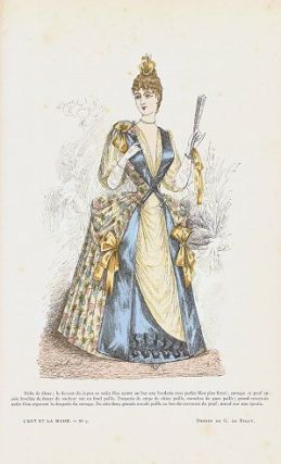 Hand colored fashion engraving from L'Art et La Mode. Robe de diner. No. 3. 1880s FASHION
