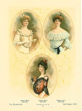 Color fashion illustration from The Delineator magazine, September, 1902. 1900s FASHIONS.