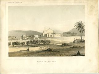 Mission of San Diego. [Vintage Pacific Railroad Survey Lithograph]. CALIFORNIA - SAN DIEGO