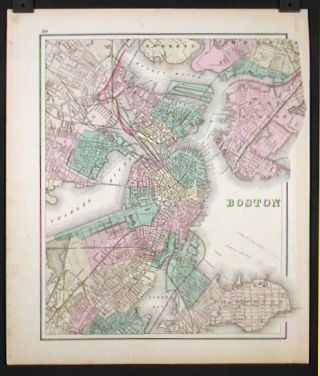 Boston. (original hand color - Vermont map on reverse side of sheet). MASSACHUSETTS - BOSTON