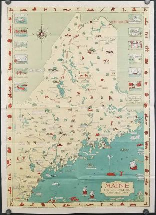 Route and Pictorial Map of Maine. (Map title: Maine. Its Recreation and History / State Highway Commission Map of Maine).