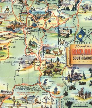 Map of the Black Hills of South Dakota. The Sunshine State.