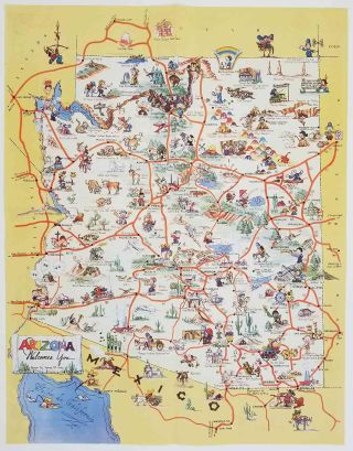Arizona Welcomes You. ARIZONA - COLOR PICTORIAL MAP