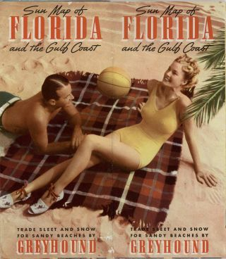 Sun Map of Florida and the Gulf Coast. Trade Sleet and Snow for Sandy Beaches by Greyhound. (Map title: Map your trip South by Greyhound).