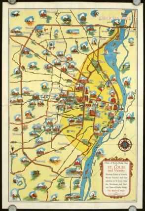 St. Louis And Main Routes thru Central United States. Chain of Rocks Route. (Map title: Chain...