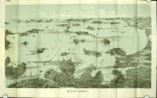 Bird's Eye View of Boston Harbor. (Map title: Boston Harbor.). MASSACHUSETTS - BOSTON
