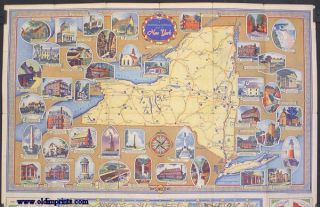 Sunoco Road Map and Historical Scenic Guide. New York. (Map title: Historical - Pictorial Map...