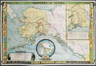 Territory of Alaska. The All-American Route. Alaska Steamship Company. Serving All of Alaska. ALASKA.