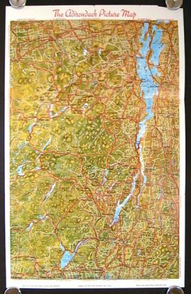 Picture Map of the Adirondacks, Lake George and Lake Champlain showing the Superb Adirondack...