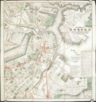 Walker's Vest Pocket Map of Boston. Giving All Points of Interest with every Railway and Steamboat Terminus. (Map title: New Map of Boston.). MASSACHUSETTS - BOSTON.