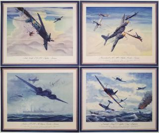 German and Japanese Fighter and Bomber Airplanes. [LOT OF 12 COLOR PRINTS vintage]