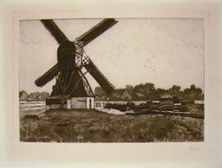 Etching of a windmill in rural landscape. ETCHING - WINDMILL
