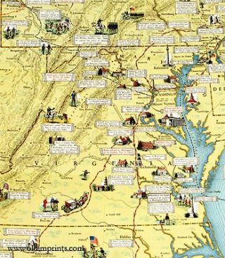 Map of the Principal Events in the life of George Washington contributed to the Bicentennial Celebration of his birth by the Standard Oil Company of Pennsylvania. (Map title:
