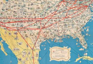 American Airlines System Map. Route of the Flagships.