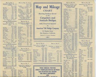 Map and Mileage Chart Showing Territory Served by the Carquinez and Antioch Bridges Built, Owned...