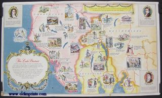 BP Pictorial Map. The Lake District. Poets' Corner of England. ENGLAND - LAKE DISTRICT