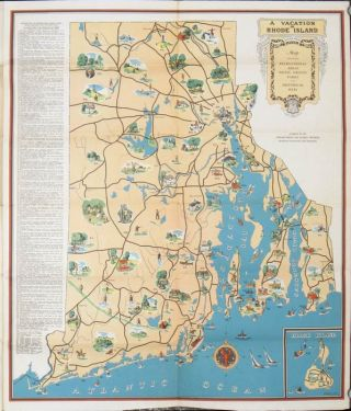 "Rhode Island Highway Map. (Map titles: ""A Vacation in Rhode Island. Map Showing Recreational..."