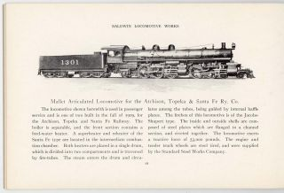 Baldwin Locomotive Works. Mallet Articulated Locomotives. Record No. 68. AND Record. 89. Development of the Eight Driving Wheel Locomotive. TWO ITEMS.